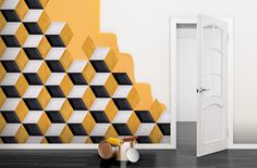 Ambient with Ceramic reliefs with geometric effects. Ambientes con Relieves ceramicos con efectos geometricos.