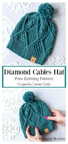 The Diamond Hat Free Knitting Instructions- Diamond Cables Beanie Free Knitti ., The Diamond Hat Free Knitting Instructions- Diamond Cables Beanie Free Knitting Pattern # freeknittingpattern # knit hats - knithat. Easy Knitting Projects, Knitting For Beginners, Knitting Ideas, Beginner Knitting Patterns, Knitting Patterns For Hats, Knit Scarves Patterns Free, Beanie Knitting Patterns Free, Knitted Headband Free Pattern, Beanie Pattern Free