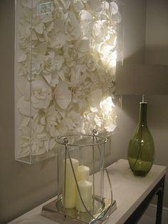 Mooi idee bord met nepbloemen en dit in 1 kleur spuiten..