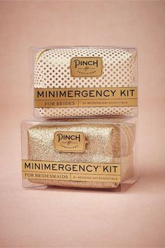 Minimergency® Kit for Brides & Bridesmaids. What every bride and bridesmaid NEEDS! Based on personal experience, I'm so SO glad I had my own little mini emergency kit on hand on my big day. How To Ask Your Bridesmaids, Bridesmaids And Groomsmen, Will You Be My Bridesmaid, Bridesmaid Gifts, Bridesmaid Color, Bachelorette Party Favors, Wedding Favors, Wedding Gifts, Mod Wedding