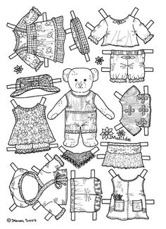 Bamser og dukker. Påklædningsdukker til at farvelægge. Paper Dolls for colouring. - Karen Bisgaard - Picasa Webalbum