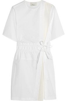 3.1 Phillip Lim Silk crepe-paneled cotton-blend poplin mini dress | THE OUTNET
