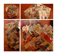 great way to use newspapers; diy bowl from weaving strips together