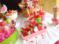 Watermelon themed party table.