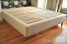 18 Gorgeous DIY Bed Frames • The Budget Decorator Upholstered Box Springs, Upholstered Bed Frame, Upholstered Platform Bed, Headboard Frame, Bed Frame Parts, King Bed Frame, Box Bed Frame, Box Spring Bed Frame, Murphy-bett Ikea