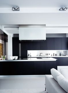 Minimalist kitchen-lounge area in Moscow by studio Ub Design