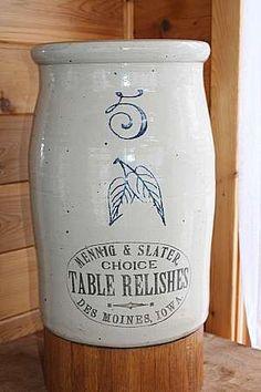 vintage relish crock Mennig & Slater, Des Moines, Iowa 5 gal.