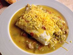 Colorado Green Chili (easy short cut version).  The finished dish — green chile-smothered burritos.