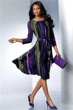 Jeweltone-Streak-Print-Dress