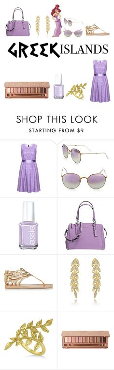 """""""Megara"""" by deltanucass ❤ liked on Polyvore featuring Manon Baptiste, Ray-Ban, Essie, Coach, Ancient Greek Sandals, Allurez, Urban Decay, Packandgo and greekislands"""