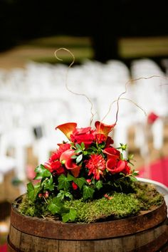Wine barrel arrangement with moss!