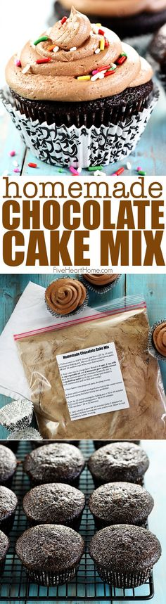Homemade Chocolate Cake Mix ~ an easy, from-scratch pantry staple to whip up light, moist chocolate cake or cupcakes in a matter of minutes! | FiveHeartHome.com