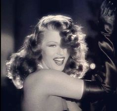 """Gilda is Rita Hayworth and Rita Hayworth is Gilda. Do you remember that famous scene in the movie where Gilda did that sensual """"half streaptease""""? Hollywood Icons, Old Hollywood Glamour, Golden Age Of Hollywood, Hollywood Stars, Hollywood Actresses, Classic Hollywood, Vintage Hollywood, Classic Actresses, Beautiful Actresses"""