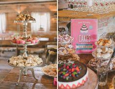 Idee für einen Sweet-Table bei einer Vintage-Scheunenhochzeit