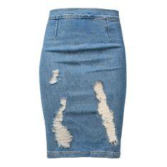 FRAME DENIM High Pen Skirt Carlyle (825 MYR) ❤ liked on Polyvore featuring skirts, bottoms, denim, gonne, high waisted skirts, pencil skirt, blue high waisted skirt, blue pencil skirt and knee length pencil skirt
