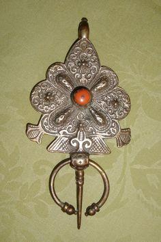 Antique Moroccan Silver Huge Pendant or Berber Fibula from dollsandsmalls on Ruby Lane