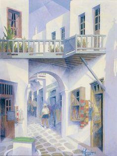Κώστας Πλακωτάρης- Δρόμος στη Μύκονο Mykonos, Santorini, Greece Painting, Create Drawing, Contemporary Art, Greek, Blue And White, Landscape, Drawings