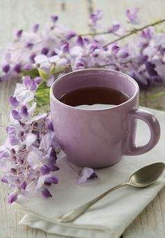 Purple - cup of tea & wisteria I Love Coffee, Coffee Break, My Coffee, Morning Coffee, Coffee Cups, Tea Cups, Sunday Coffee, Café Chocolate, Lavender Cottage