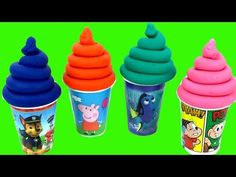 FINDING DORY SURPRISE TOYS IN CUPS LEARN COLORS MODELLING CLAY PEPPA PIG PAW PATROL TURMA DA MONICA - YouTube