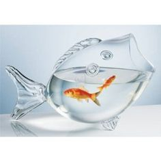 CLEAR FISH BOWL - CLEAR FISH SHAPED BOWL: Aquariums,  Gifts for Fish Lovers