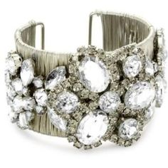 Adia by Adia Kibur Silver Wire Crystal Flower Cuff Bracelet