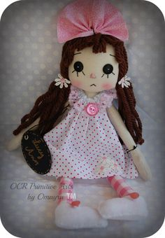 Lucy Ann Cloth Art Raggedy Doll ooak by OCRPrimitiveArts on Etsy, $55.00