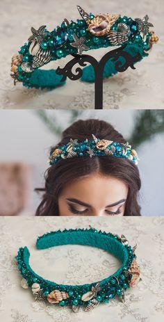 Flower crowns, beaded headbands, bridal crystal tiaras by ShinyBeautyStore Diy Headband, Beaded Headbands, Handmade Headbands, Hair Accessories For Women, Fashion Accessories, Hair Jewelry, Beaded Jewelry, Jeweled Headband, Crystal Headband