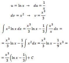 solving the integral of ln(x)·x^2  by parts