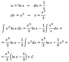 resolvemos la integral de (x^2)ln(x) aplicando integración por partes