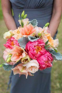 Round Coral & Pink  Wedding Boquet