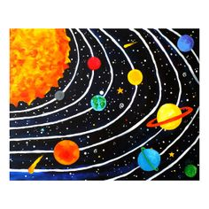 Space Wall Art for Children, Solar System No. 4, 20x16 Giclee, Colorful Space Themed Art for Kids Room
