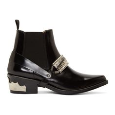 Toga Pulla Black Leather & Silver-Trimmed Harness Chelsea Boots