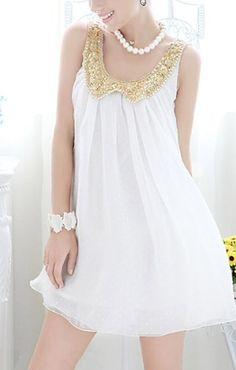 Baby Doll Goddess Dress Gold Sequins Collar – Dress Me Good
