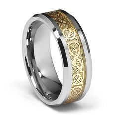 8mm Celtic Design Dragon Yellow Inlay Men's Tungsten Wedding Band - Size 10. Free Exchange. Scratch Resistant. 100% Cobalt and Nickle Free. Comfort-Fit. Promptly Packaged with Free Gift Box and Gift Bag.