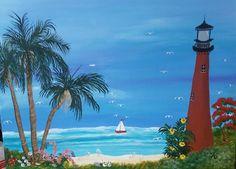 Jupiter beach Lighthouse palms boat acrylic by christimyart Florida Palm Trees, Jupiter Beach, Ocean Scenes, Ocean Art, Palms, East Coast, Lighthouse, Ocean Paintings, Fine Art