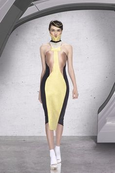 See all the Collection photos from Andrew Majtenyi Spring/Summer 2014 Ready-To-Wear now on British Vogue Spring Summer, Summer 2014, Ready To Wear, Personal Style, Women Wear, High Neck Dress, Vogue, Bodycon Dress, Sporty