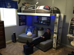 Trendy Bedroom Loft For Teens Dream Rooms Gamer Bedroom, Boys Bedroom Decor, Childrens Room Decor, Small Room Bedroom, Bedroom Loft, Trendy Bedroom, Small Rooms, Boys Bedroom Ideas Tween, Boys Room Ideas