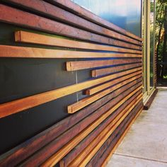 Horizontal timber feature wall