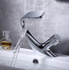 Basin Tap Brass Chrome Finished Waterfall Mixer Art Designed Bathroom Sink Tap TC0289