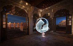 julien breton creates luminous calligraphy through light-painted performances