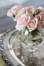 Brandy sniffer used a vase for miniature bouquet!!! Bebe'!!! Part of a collection of crystal glasses or small bottles used as vases!!! From frenchcountrycottage.blogspot.com !!! French Country Cottage Blog!!!