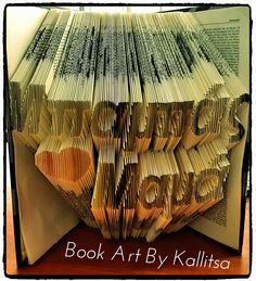 Δώρο για την μαμά και τον μπαμπά ♥ Δώρο για την γιορτή της μητέρας ♥ Δώρο για την γιορτή του πατέρα ♥ Βιβλίο ♥ Book Folding ♥ Book Art ♥ Book Art By Kallitsa #names #gifts #bookartbykallitsa