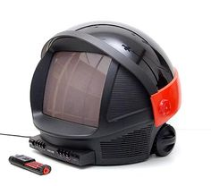 Plastic space helmet model TV Discoverer with original remote control design Honson Lee 1983 executed by Philips / the Netherlands Television Set, Vintage Television, Home Deco, Space Tv, Retro, Mirrored Wardrobe, Home Tv, Gadgets, Phonograph