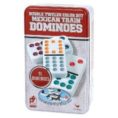 Double Twelve Color Dot Mexican Train Dominoes Game with Tin : Target