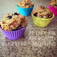 21 Day Fix/Hammer and Chisel Approved Blueberry Muffins  Gather these goodies:  1 1/2 cups almond flour 1/8 tsp salt 3/4 tsp...