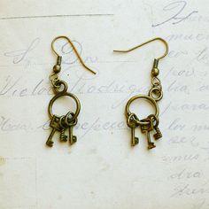 Tiny Castle Skeleton Key Ring Earrings in Bronze by lostkatstudios, $7.50 <- I do not have pierced ears, but if I did...