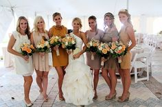 Different bridesmaids dresses - neutrals. Note that their shoes match!