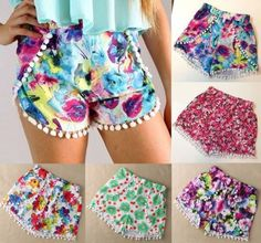 Zanzea Frauen Pom Shorts Hohe Taille Quaste Tribal Print Strand Beiläufige Hot Pants - Kenslee's stuff - Mini Shorts, Gym Shorts, Lace Shorts, Hot Pants, Sewing Shorts, Beach Attire, Beach Casual, High Waisted Shorts, Kids Fashion