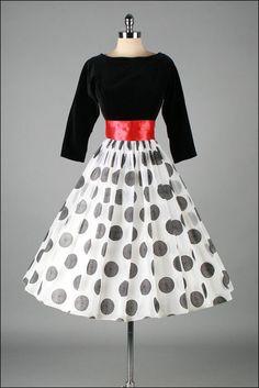 1950's Flocked Optical Circles/ Red Sash Dress