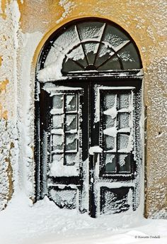 door in winter.